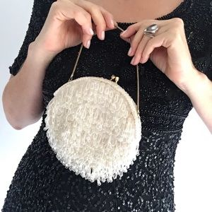 Vintage 1950's  Beaded  Purse Clutch White